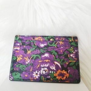 Coach NWOT | Purple Leather Floral Cardholder